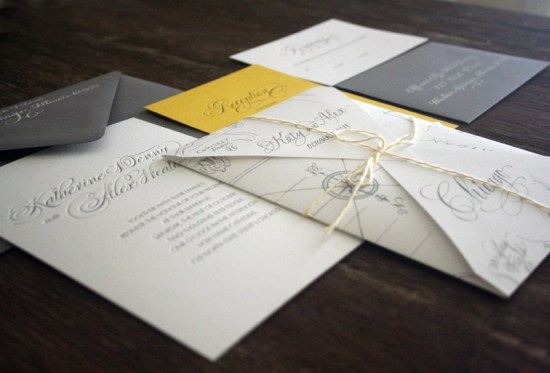 Yellow Gray Elegant Letterpress Wedding Invitations 550x373 Katie + Alexs Elegant Chicago Map Wedding Invitations
