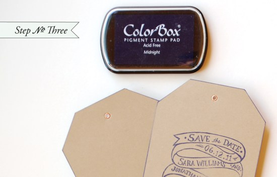 edge paint3 550x352 DIY Tutorial: Rubber Stamp Edge Painted Save the Date Tags