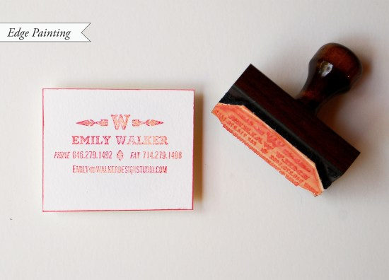 painted edge cc3 550x396 DIY Tutorial: Rubber Stamp Calling Cards