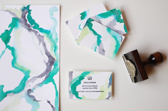 watercolor1 550x363 DIY Tutorial: Rubber Stamp Calling Cards