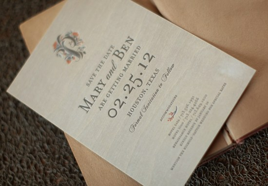 Elegant Woodgrain Letterpress Save the Dates 550x382 Mary + Bens Elegant and Rustic Wood Veneer Save the Dates