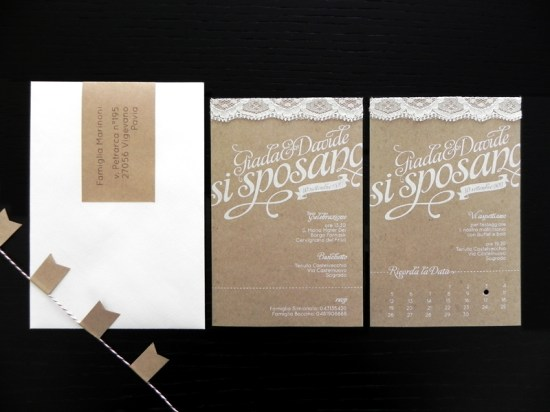 Kraft Paper Lace Wedding Invitations 550x412 Giada + Davides Kraft Paper and Lace Wedding Invitations