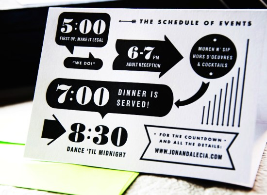 Neon Black White Graphic Wedding Invitations Kate Gabriel Folded3 550x402 Alecia + Jons Black, White, and Neon Graphic Wedding Invitations