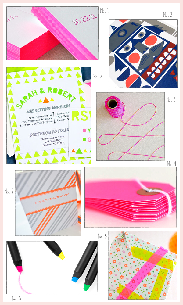 Neon Stationery Round Up Inspired By: Neon!