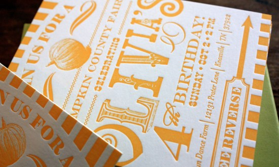Yellow Letterpress 4th Birthday Party Invitations2 550x330 Olivias Country Carnival Inspired Birthday Party Invitations