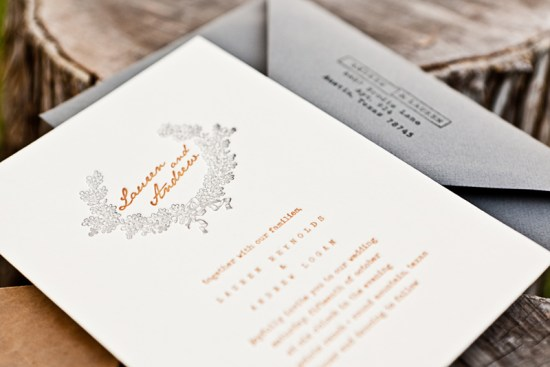 Orange Gray Letterpress Fall Wedding Invitations4 550x367 Lauren + Andrews Orange and Gray Fall Wedding Invitations