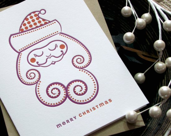 Sweet Harvey Modern Letterpress Santa Holiday Card 550x440 2011 Holiday Card Round Up, Part 2