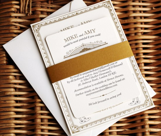 Vintage Inspired Gold Black Wedding Invitations 550x464 Amy + Mikes Vintage Inspired Gold Letterpress Wedding Invitations