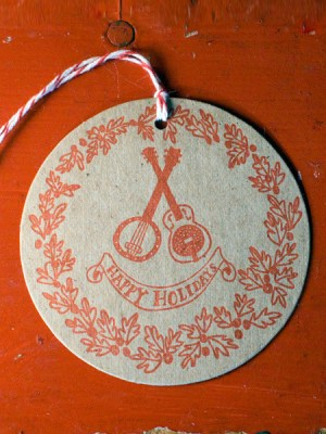 Wild Horse Letterpress Guitar Holiday Gift Tags 300x400 2011 Holiday Card Round Up, Part 2