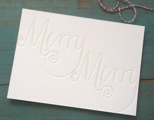 gracie finn merry merry blind emboss holiday card 300x234 2011 Holiday Card Round Up, Part 2
