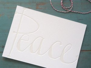 gracie finn peace blind emboss holiday card 300x214 2011 Holiday Card Round Up, Part 2