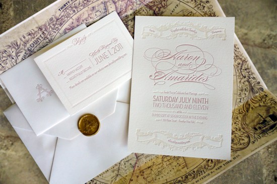 Elegant Pink Letterpress Brooklyn Wedding Invitations 550x366 Amarides + Aarons Brooklyn Wedding Invitations