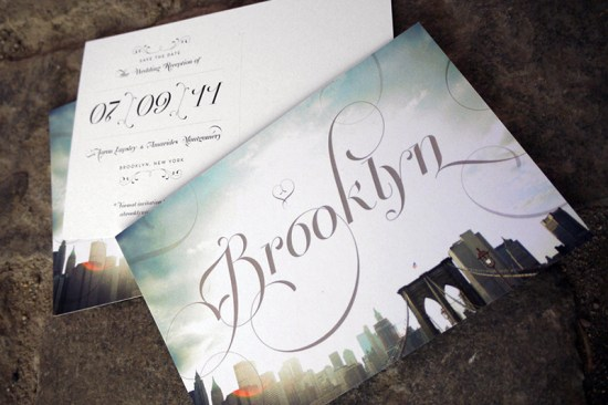 Elegant Pink Letterpress Brooklyn Wedding Save the Date 550x366 Amarides + Aarons Brooklyn Wedding Invitations