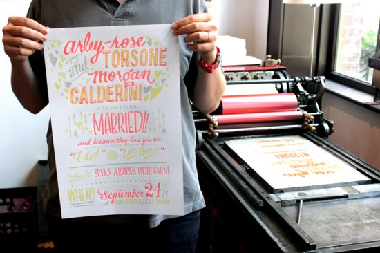 Ladyfingers Letterpress Neon Hand Lettering Wedding Invitations 550x366 Best of 2011: Neon Wedding Invitations