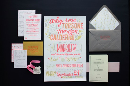 Ladyfingers Letterpress Neon Hand Lettering Wedding Invitations2 550x366 Best of 2011: Neon Wedding Invitations