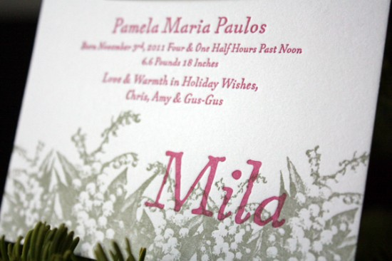 Letterpress Holiday Card Birth Announcement Print in Cursive3 550x366 Holiday Card and Birth Announcement for Baby Mila