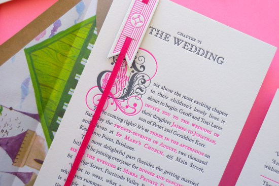 Neon Pink Storybook Wedding Invitations The Hungry Workshop2 550x367 Best of 2011: Neon Storybook Wedding Invitations