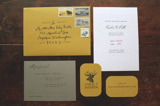 Rustic Woodsy Faux Bois Wedding Invitations La Happy3 550x366 Kendra + Robbs Rustic Woodgrain Wedding Invitations