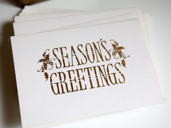Vintage Gold Foil Holiday Cards 550x413 2011 Holiday Card Round Up, Part 12