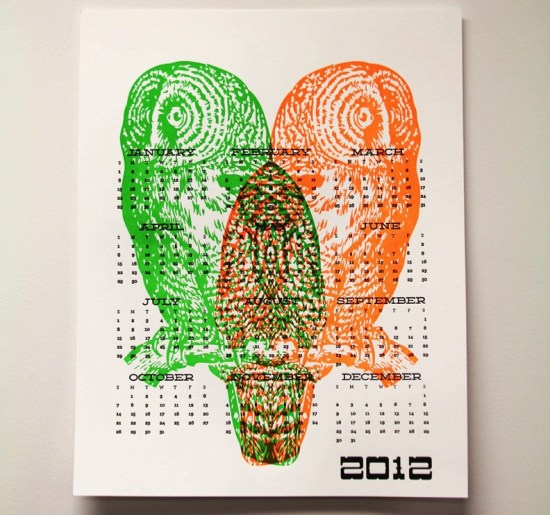 Wishbone Letterpress Neon Owl 2012 Calendar 550x515 2012 Calendar Round Up, Part 10