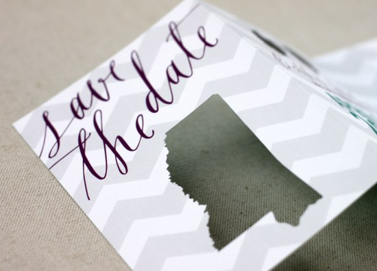 Chevron Stripe Calligraphy Wedding Save the Dates August Blume7 550x396 Beth + Michaels Chevron Stripe Calligraphy Save the Dates