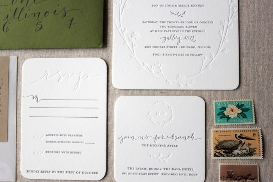 Letterpress Calligraphy Wedding Invitations Ruby the Fox4 550x366 Megan + Mikes Modern Organic Chicago Wedding Invitations
