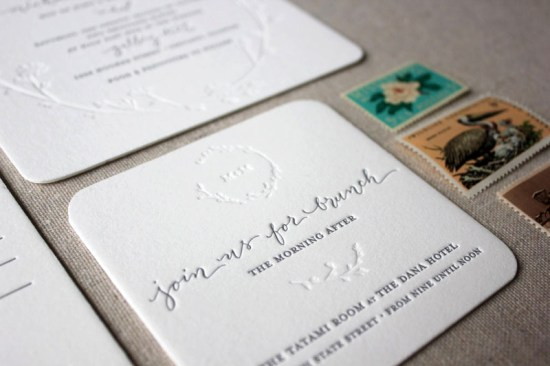 Letterpress Calligraphy Wedding Invitations Ruby the Fox5 550x366 Megan + Mikes Modern Organic Chicago Wedding Invitations