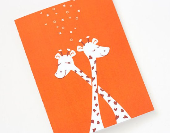 One Plus One Giraffe Valentines Day Card 550x431 Seasonal Stationery: Valentines Day Cards, Part 3