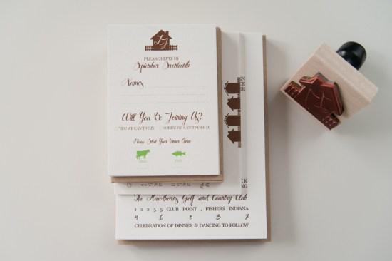 Rustic Letterpress Wedding Invitations Three Fifteen Design9 550x366 Lauren + Johns Rustic Home Letterpress Wedding Invitations