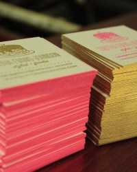 Unique Non Traditional Letterpress Edge Painted Business Cards by Ladyfingers Letterpress