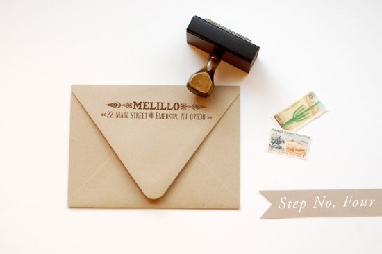 step 4 550x366 DIY Tutorial: Rubber Stamp Vintage Western Wedding Save the Dates + Invitations