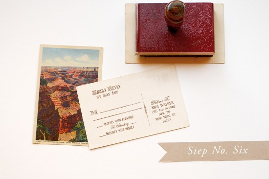 step 6 550x366 DIY Tutorial: Rubber Stamp Vintage Western Wedding Save the Dates + Invitations