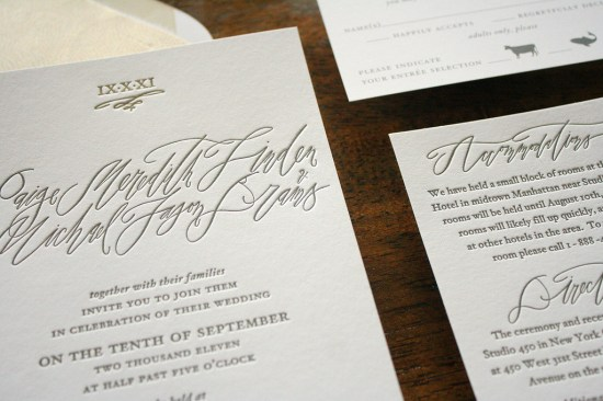 Calligraphy Letterpress Wedding Invitations Parrott Design Studio Betsy Dunlap2 550x366 Paige + Michaels Elegant Calligraphy Wedding Invitations