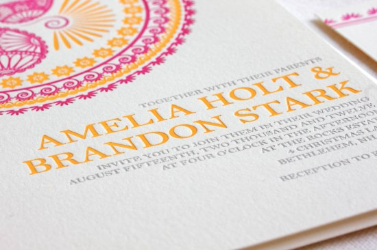 Indian Design Letterpress Wedding Invitations 550x366 Indian Pattern Letterpress Wedding Invitations