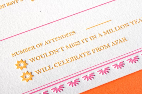 Indian Design Letterpress Wedding Invitations4 550x366 Indian Pattern Letterpress Wedding Invitations