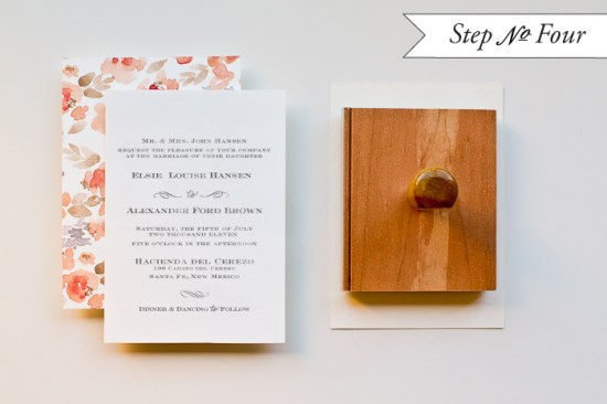 step4 550x366 DIY Tutorial: Watercolor Floral Pattern Wedding Invitations