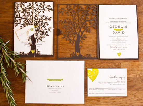 Laser Cut Tree Wedding Invitations 550x409 Georgie + Daves Nature Inspired Wedding Invitations