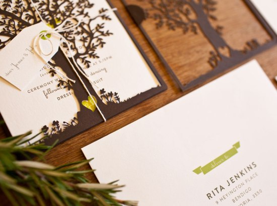 Laser Cut Tree Wedding Invitations2 550x409 Georgie + Daves Nature Inspired Wedding Invitations