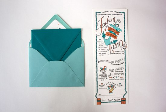 Nautical Atlantic City Wedding Invitations 550x373 Jaclyn + Jasons Illustrated Nautical Wedding Invitations