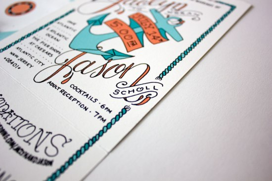 Nautical Atlantic City Wedding Invitations3 550x366 Jaclyn + Jasons Illustrated Nautical Wedding Invitations