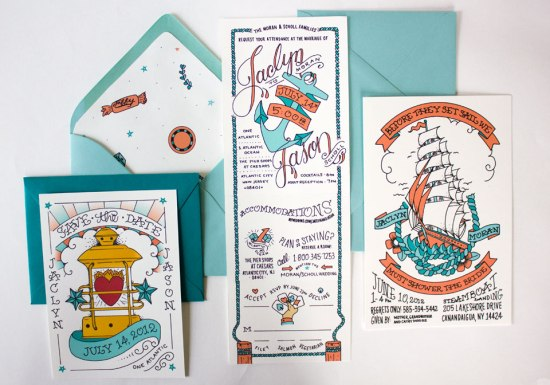 Nautical Atlantic City Wedding Invitations6 550x385 Jaclyn + Jasons Illustrated Nautical Wedding Invitations