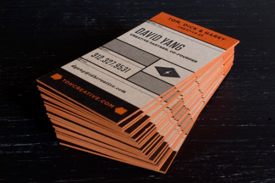 Tom Dick Harry Orange Edge Paint Business Cards 550x366 Business Card Ideas and Inspiration #11