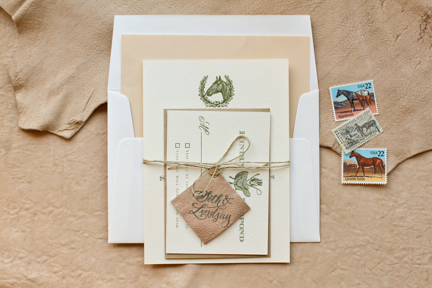 diy stamped equestrian invitations with monogrammed leather tags wedding invitation stamps