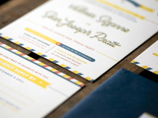 Modern Americana Letterpress Wedding Invitations Ketchup Mustard5 550x412 Sean + Toris Modern Primary Color Wedding Invitations