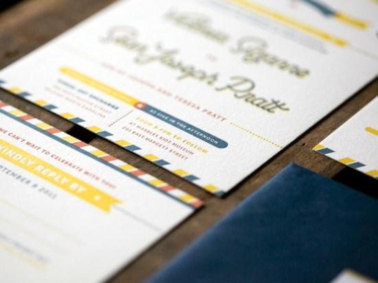 Modern Americana Letterpress Wedding Invitations Ketchup Mustard5 550x412 Sean + Toris Modern Primary Color Wedding Invitations