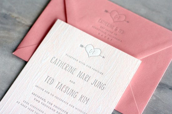 Pink Faux Bois Letterpress Wedding Invitations Truly Smitten Studio6 550x367 Catherine + Teds Modern and Rustic Faux Bois Wedding Invitations