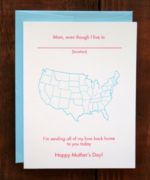 mothersday map greenwich letterpress 300x360 Seasonal Stationery: Mothers Day Cards