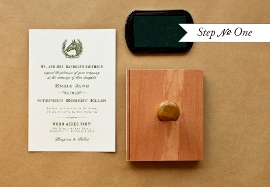 step1 550x380 DIY Tutorial: Rubber Stamp Equestrian Wedding Invitations