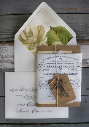 Handkerchief Kraft Paper Wedding Invitations Lucky Luxe Couture Correspondence5 300x427 Rena + Michaels Semi Formal Handkerchief Wedding Invitations