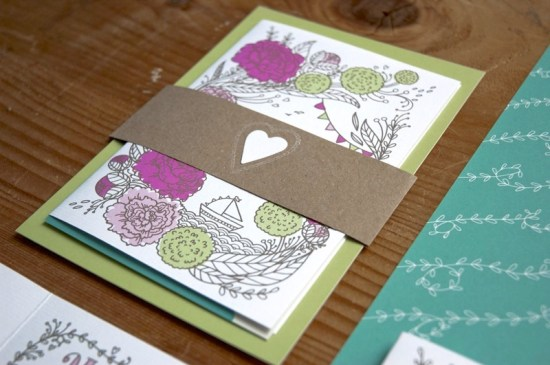 Heart Floral Illustrated Wedding Invitations3 550x365 Annette + Florians Illustrated Floral Wedding Invitations